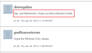nbc-comment-sgt-joel-muhlnickel-I-hope-you-find-a-muslim-bullet