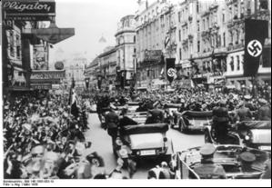 Austrians in Vienna welcoming Nazi occupation, 1938